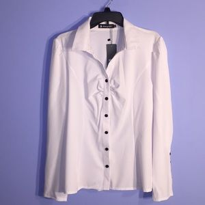 Allegra K Women's Fitted Button Up Blouse XL NWT
